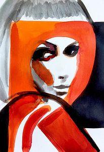 Gerahmt in Orange von Helia Tayebi Art
