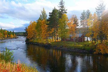 Op een rivier in Zweden van Thomas Zacharias