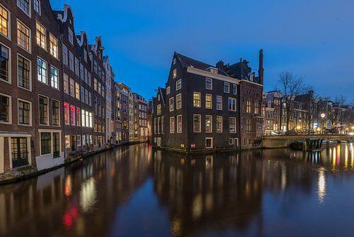 Oudezijds Voorburgwal Amsterdam at Blue hour