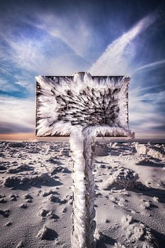 De wegwijzer op de Brocken is bevroren... van Marc-Sven Kirsch