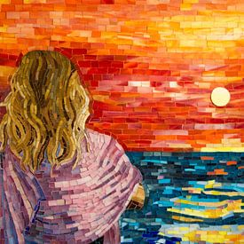 Zonsondergang in de Middellandse zee van Adriana Zoon