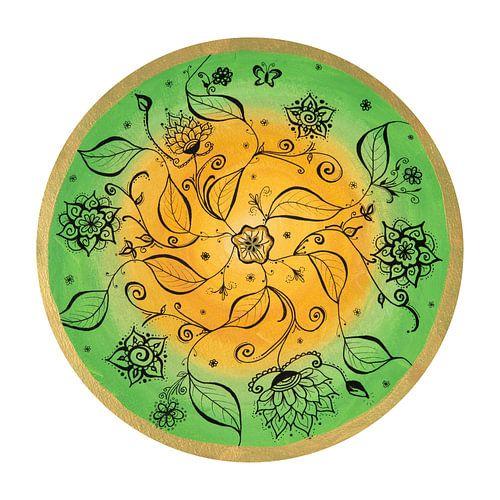 """Mandala """"Fröhliches Naturspiel"""" handgemalt sur"""