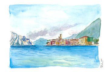 Vue en bateau de Malcesine en Italie avec le lac de Garde et Riva sur Markus Bleichner