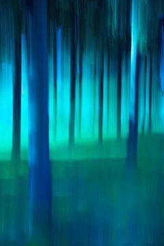 Abstracte bomen in blauw en groen. van Faeline Creations