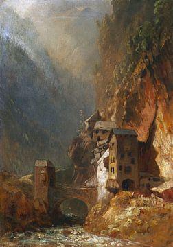 Gebirgstal mit Brückenhäusern, Um 1880 von Atelier Liesjes