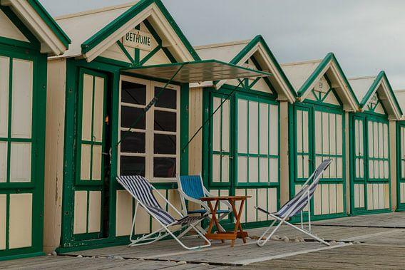 Strandstoelen klaar voor gebruik