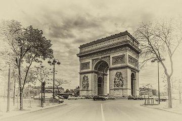 Paris - Arc de Triomphe (Schwarzweiss) sur Toon van den Einde