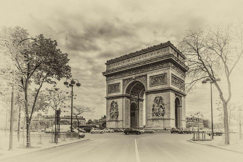 Parijs - Arc de Triomphe (zwartwit) van Toon van den Einde