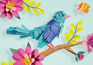 Vogel op bloesemtakje van Lonneke Leever