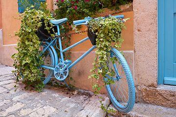 dekoriertes blaues Fahrrad in einer Gasse in der romantischen historischen Altstadt von Rovinj von Heiko Kueverling