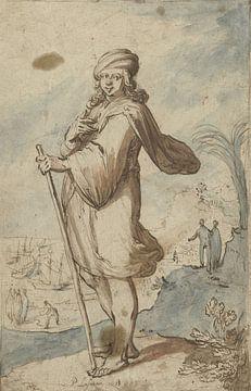 Stehende Figur mit Turban, von der Seite, Pieter Lastman, 1603