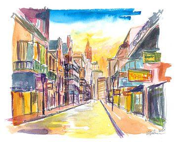New Orleans Bourbon Street Scene bij zonsopgang van Markus Bleichner