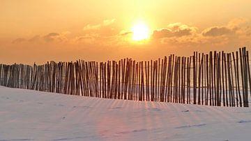 Strand zonsondergang in de winter met sneeuw