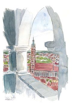 Landshut uitzicht vanaf de Trausnitz-Söller-Terrasse met St. Martin van Markus Bleichner