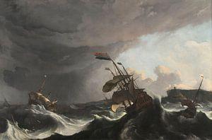 Oorlogsschepen tijdens een storm, Ludolf Bakhuysen