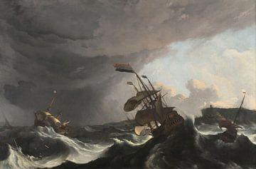 Die Kriegsschiffe Ridderschap und Hollandia im Sturm in der Straße von Gibraltar, Ludolf Bakhuysen