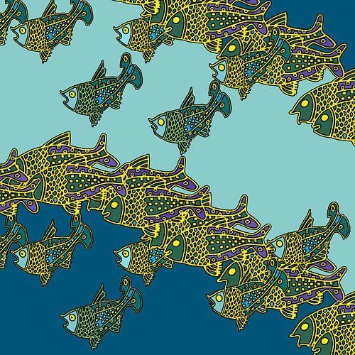 VISSEN grafische print van een school vissen van