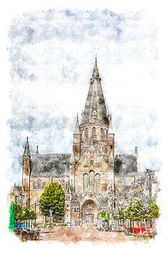 Aquarell der Heiligen Gummarus-Kirche in Steenbergen (Brabant, Niederlande) von Art by Jeronimo