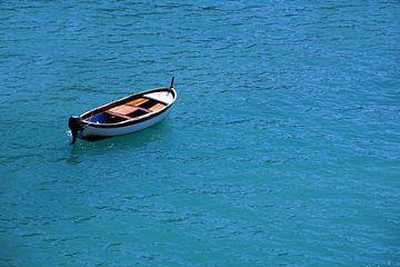 Motorboot op rustige zee van Tom Van Dyck