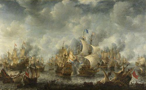 VOC Zeeslag schilderij: Slag bij Terheide, Jan Abrahamsz. Beerstraten, 1653 - 1666  van Schilderijen Nu