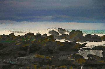 Ölgemälde mit Tuschelinien - Landschaft - Meer - Küste - rau - Sturm - Horizont - Kunstwerk von Dirk van der Ven