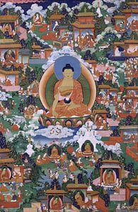 Shakyamuni Boeddha met scènes van Avadana legendes - 19de eeuw