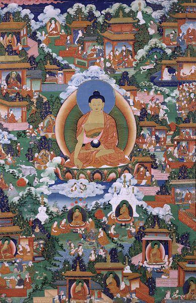 Shakyamuni Boeddha met scènes van Avadana legendes - 19de eeuw von Het Archief