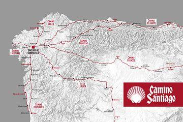 Camino de Santiago (carte) | Chemin de Saint-Jacques sur City Maps