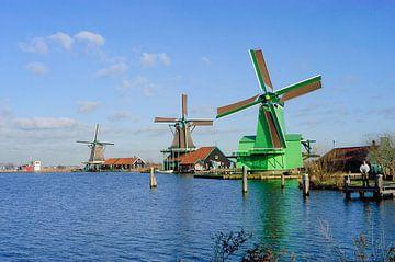 Windmolens op de Zaanse Schans, Netherlands van Martin Stevens