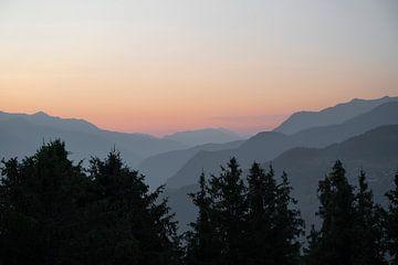 Sonnenuntergang in Courchevel, Frankreich.