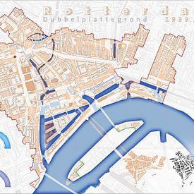 Dubbelplattegrond Rotterdam 1939/NU - versie zonder namen van Frans Blok