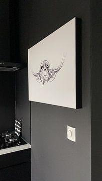 Klantfoto: Poster zeehond - Terschelling - zwart wit van Studio Tosca