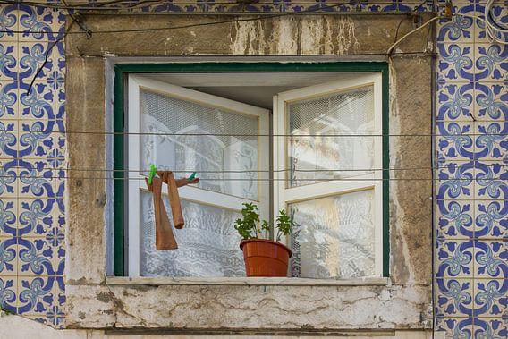 Waslijn voor raam met Portugese tegeltjes