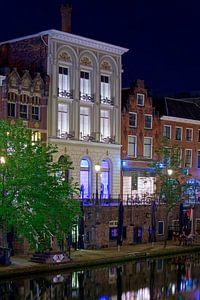 Nachtfoto Grachtenpand Oudegracht Utrecht