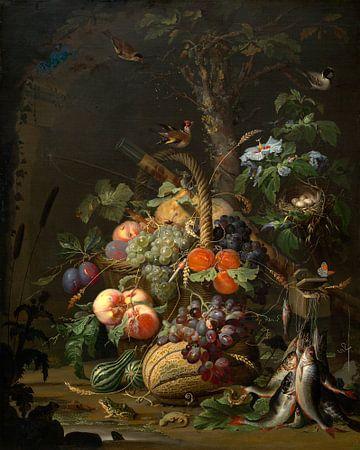 Stillleben mit Obst, Fisch, und ein Nest, Abraham Mignon