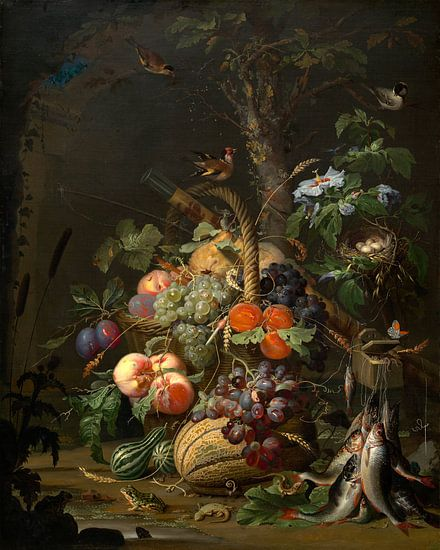 Stilleven met fruit, vis, en een Nest, Abraham Mignon