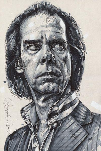 Nick Cave Gemälde von Jos Hoppenbrouwers