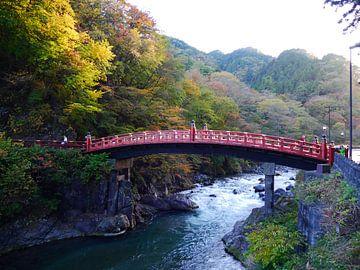 Rode brug in de herfst, Nikko, Japan van Annemarie Arensen