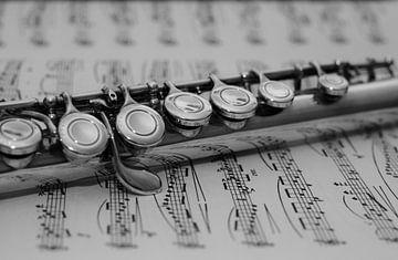 Dwarsfluit op bladmuziek van