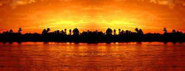 Sundown at river Nil van Leopold Brix