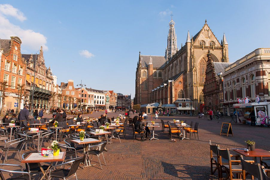 Haarlem Netherlands Grote markt met de Bavokerk