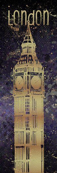 Grafische Kunst LONDEN de Big Ben | ultra violet & goud van Melanie Viola