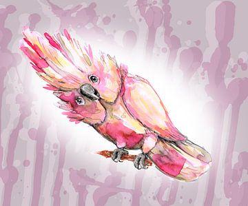 Roze kaketoe aquarel