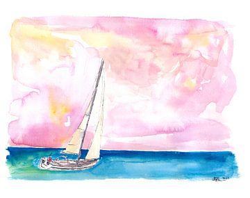 Snel zeilen door Ocean Spray de zonsondergang tegemoet en naar de volgende aanloophaven van Markus Bleichner
