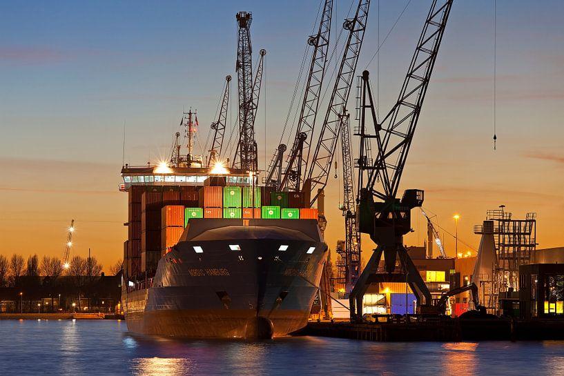 Container schip te Rotterdam van Anton de Zeeuw
