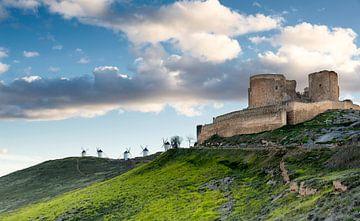 Don Quichot windmolens landschap in Spanje.