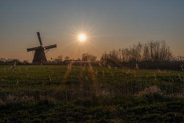 Molen tijdens zonsondergang von Moetwil en van Dijk - Fotografie