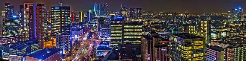 Rotterdam Centrum Nachtpanorama van Bob de Bruin