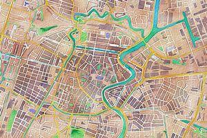 Kleurrijke kaart van Haarlem van Stef Verdonk