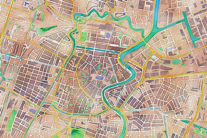 Kleurrijke kaart van Haarlem sur Stef Verdonk